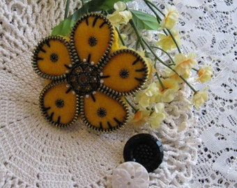 Yellow Flower Zipper Brooch
