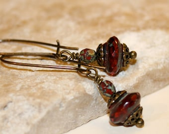 Ruby red earrings, Petite dangle earrings, Red picasso earrings, Rivoli earrings