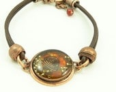 Orgone Energy Bracelet - Leather Friendship Bracelet - Copper & Carnelian Gemstone - Celebrity Gift - Artisan Jewelry