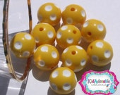 10 Pieces 20mm Yellow Polka Dot Style Chunky Beads