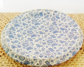 Victorian English bread platter or plate in blue and white paisley