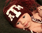 Texas A&M University, TAMU, Aggies, Maroon and White Football, Basketball, Baseball Hat (Newborn - 4T) Great for Photo Prop