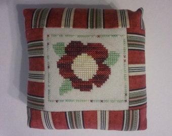 flower cross stitch pincushion , large and soft , pieced pincushion