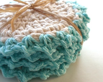 Crocheted Coasters for the home Aqua Set of 4