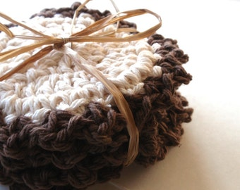 Crocheted Coasters for the home Cocoa Set of 4