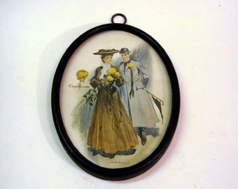 Vintage 1 Cent Postcard Wall Hanging Turn of Century Victorian Couple Chrysanthemum