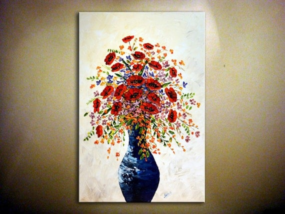 """Original Oil Art Painting.Abstract.Impasto.Palette Knife.Bouquet of Poppies Heavy Textured Painting 30"""" x 20"""" Wall Art Decor    - by Nata S."""