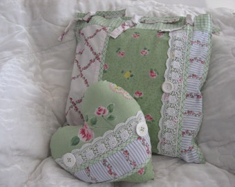 Pillow Set of Two Shabby Chic Green Floral Print Heart & Square Pillows Lace Green Pink Blue White Home Decor Bedroom Accent