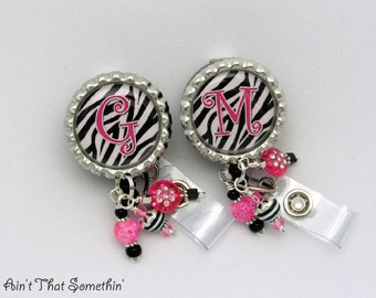 Personalized Zebra -N- Hot Pink Badge Reel - Personalized Badge Reel - Zebra Badge Clips - Beaded Badge Pulls - Diva Name Tag Holders