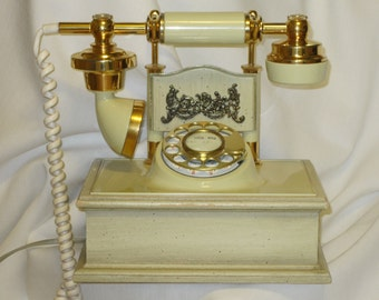 Elegant Ivory Rotary Dial Telephone Brass Accents Model 1320