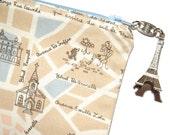 Paris Map Pouch with Eiffel Tower Zipper