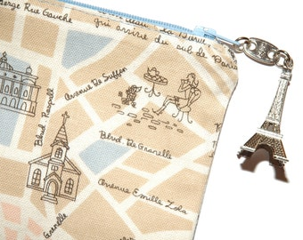 Paris Map Pouch with Eiffel Tower Zipper