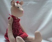 Beautiful Light Brown Jointed Teddy Bear in sundress FREE UK POSTAGE