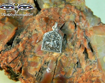 Goddess Durga Sterling Silver Hindu Square Charm Pendant - Fierce Compassion