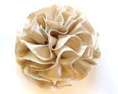Champagne Ruffled Fabric Flower Pin, Hair Clip, Fascinator, or Headband - HairFair