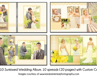 PSD Wedding Album Template - SUNKISSED - 10x10 10spread (20 page) design with custom cover