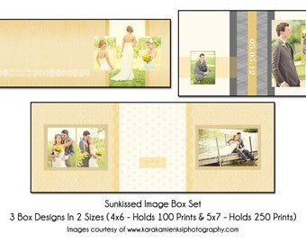 PSD Image Box Template - SUNKISSED -  Wedding Image Box Set, 3 box designs
