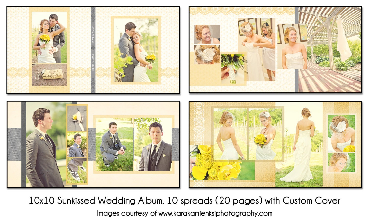 Photoshop Templates: PSD Wedding Album Template SUNKISSED 10x10 10spread 20