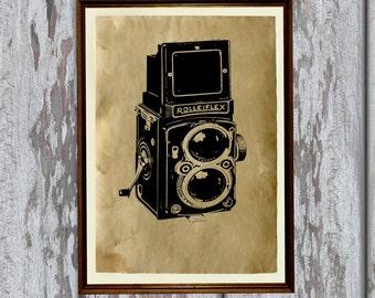 Brown Antique Paper Vintage camera print Old looking decoration AK322