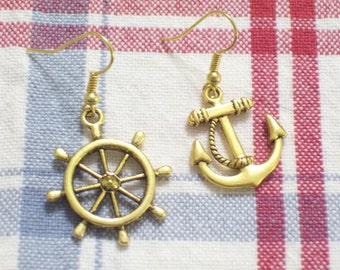 Asymmetrical Antiqued Gold Plated Ship Wheel and Anchor Pierced Dangle Earrings