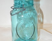 Aqua Mason Ideal Bicentennial Bail and Wire Quart Canning Jar Vintage