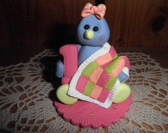 "Polymer Clay Blue Bird-Personalized""Baby's First Birthday"" Baby Blue Bird Cake Topper/Keepsake/Gift"