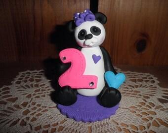 Polymer Clay Panda Bear-Personalized Second Birthday Panda Bear Cake Topper/Keepsake/Gift