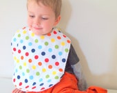 Chevron Toddler bib rainbow polka dots flannel terry cloth snap
