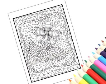 Zentangle Inspired PDF Printable Coloring Page Zendoodle 6