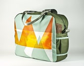 Large Travel Bag -- silkscreened -- orange & mint - ready to ship.