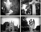 Cemetery Photo Set four 4x4 photograph spooky ghost graveyard Black and White indiana home decor