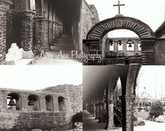 Mission Photo Set of four San Juan Capistrano black and white home decor