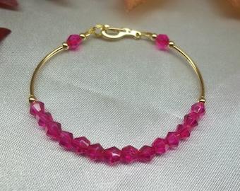 Girls Bracelet Hot Pink Bracelet Crystal Bracelet Baby Bracelet Fuschia Bracelet Adjustable Bracelet 14k Gold Filled BuyAny3+1 Free