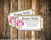 INSTANT DOWNLOAD- Pink Owl Printable Baby Shower Diaper Raffle Ticket