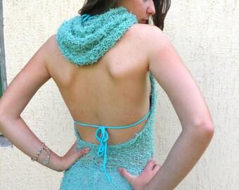 Bolero Shrug /Womens Hand Knit Shrug , transformer bolero, Mint Green Hand Knitted Shrug / Mint  top With Hood