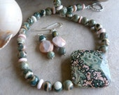 Green Ocean Jasper Pendant with Pink Conch Shell and Jasper Summer Love Artisan Necklace Earrings