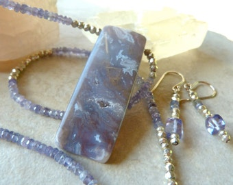 Crystal Blue Agate Drusy Pendant - Iolite, Sterling Silver Elegant Artisan Necklace and Earrings