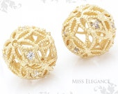 2 pcs Filigree Carved Cubic Zirconia Beads Metal Spacer Balls Matte Gold Plated Unique Jewelry Findings // 10mm x 10mm x 1mm // 1097-MG