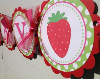 Berry Sweet Happy Birthday Banner Hot Pink Red and Green
