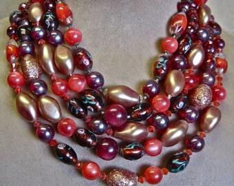 WOW Murano Glass Necklace: Vintage 50s Mid Century SPECTACULAR Venetian Italian Lampwork Blood Orange Red Wine Copper