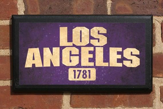 Los angeles ca wall art sign plaque gift present home decor Home decor 90027