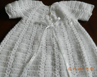Crochet 3pc.Christening Set/Crocheted/Ribbon with silver crosses/Perle cotton trim/quality Paton yarn/gown/bonnet/booties/FREE SHIP