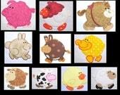 Chubby Farm Friends Full Set Machine Applique Embroidery Designs - 4x4, 5x7 & 6x8