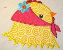 Farm Friends For Girls - Chick Face 02 Machine Applique Embroidery Design - 4x4, 5x7 & 6x8