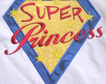 Super Princess Machine Applique Embroidery Design - 4x4, 5x7 & 6x8