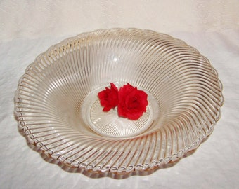 Lovely large antique thick glass bowl - swirly glass design - vintage