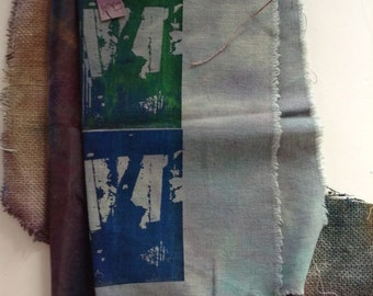 A MIXed group of various sized sample Painted Fabrics 25