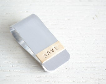 """Money clip - silver and brass """"save"""" money clip handcrafted in the USA - Funny groomsmen gifts for him"""