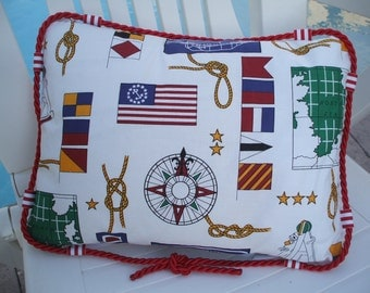 "Nautical Gift Pillow Cover with Red Rope Trim 12"" x 16"""