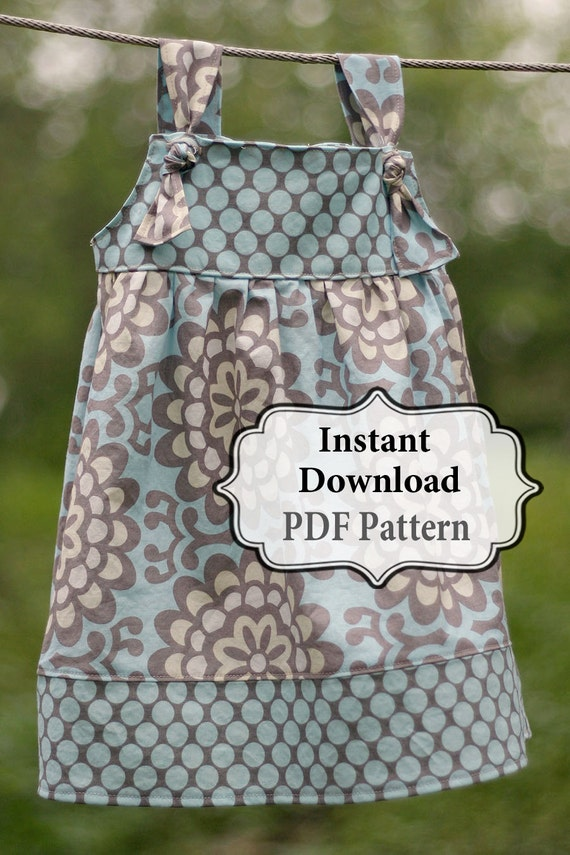 Apron Knot Dress Sewing PDF Pattern Sizes 3m - Girls 8 INSTANT DOWNLOAD